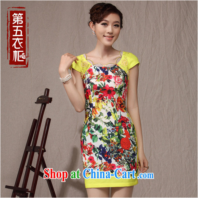 cheongsam dress style daily improved stylish short summer 2014 new flouncing, leading edge yellow dress Huanghua XXL