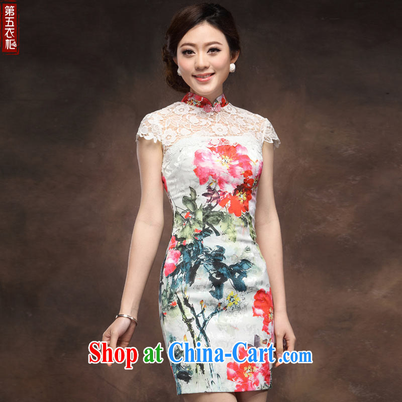 cheongsam dress retro improved white knocked color stitching and stylish MOM 2014 summer New Beauty sexy qipao XXL suit