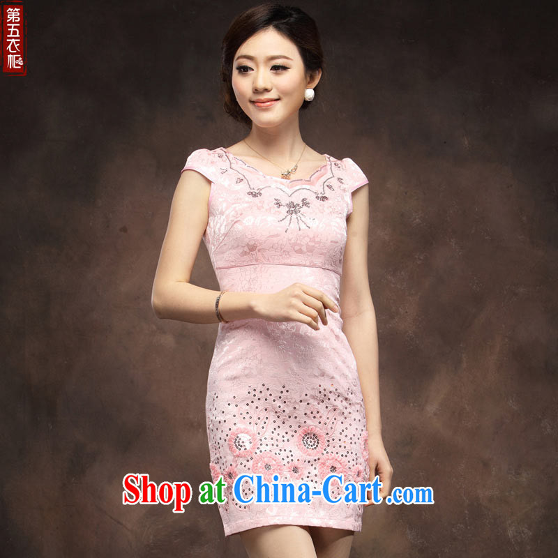 cheongsam dress summer fashion 2014 new short embroidered pink girls the street daily bridesmaid dress pink XXL
