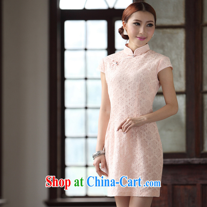 LACE dresses 2014 new cheongsam dress bridesmaid with pink back doors everyday dresses short qipao pink XXL