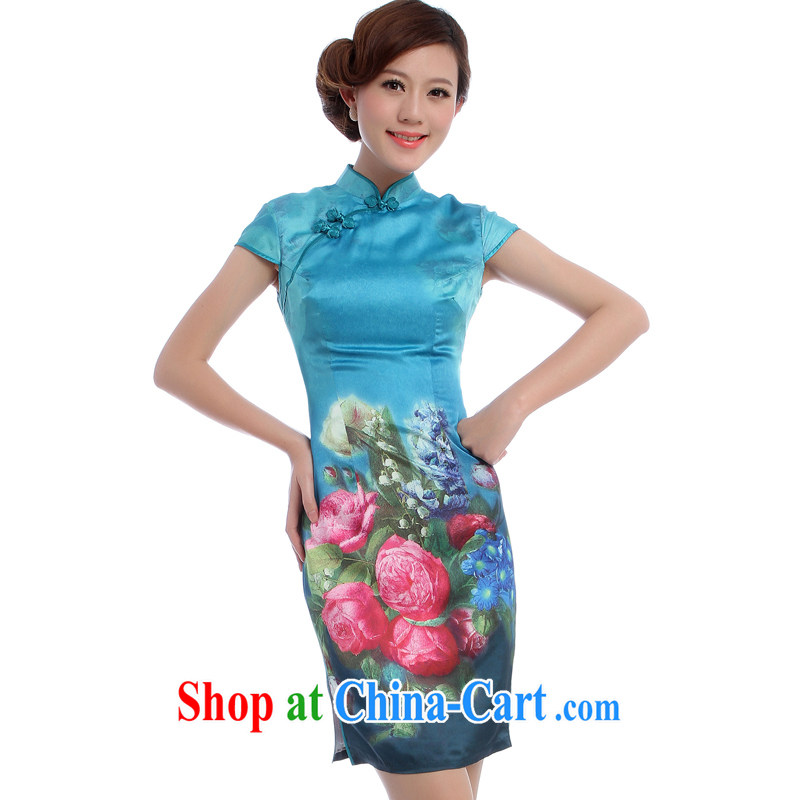 Daily outfit retro short New 2014 summer blue roses quality female dress 5551 Blue Green S