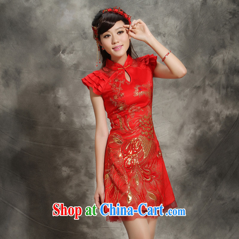 wedding dresses red bows service 2014 new wedding dresses bride Chinese style LIFU obsessed with festive red XXL