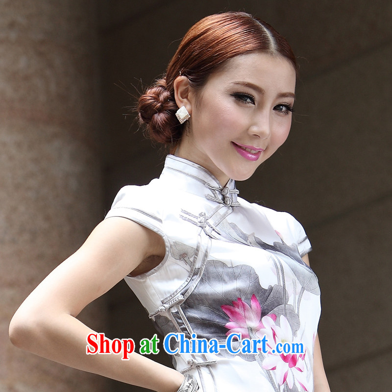 Lotus Silk Cheongsam new 2014 summer white tie retro Ms. Summer Fall outfit with Tang Ching-fang white gray flowers XXL