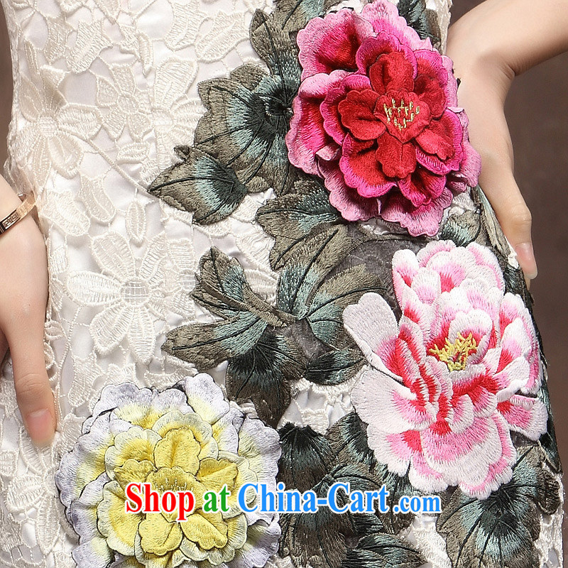Autumn antique dresses short dresses of embroidery white exclusive fashion bridal mother wedding dress white XXL