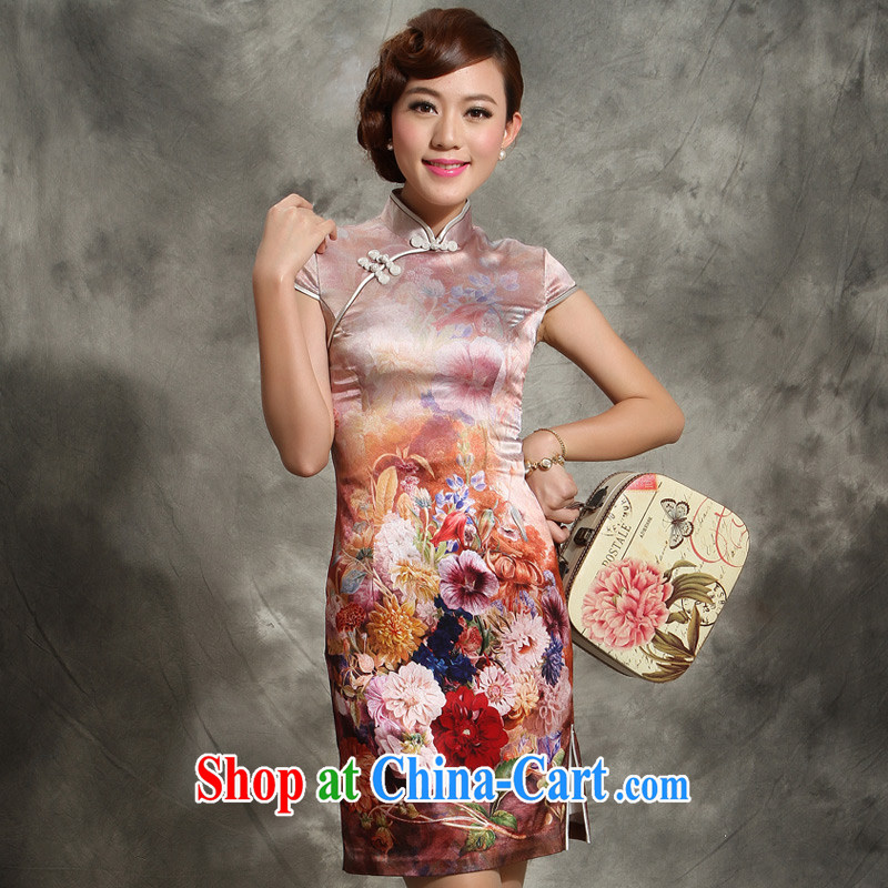 Heavy Silk Dresses new 2014 summer quality women, Ms. day sauna silk dress 5113 - 3 coffee XXL