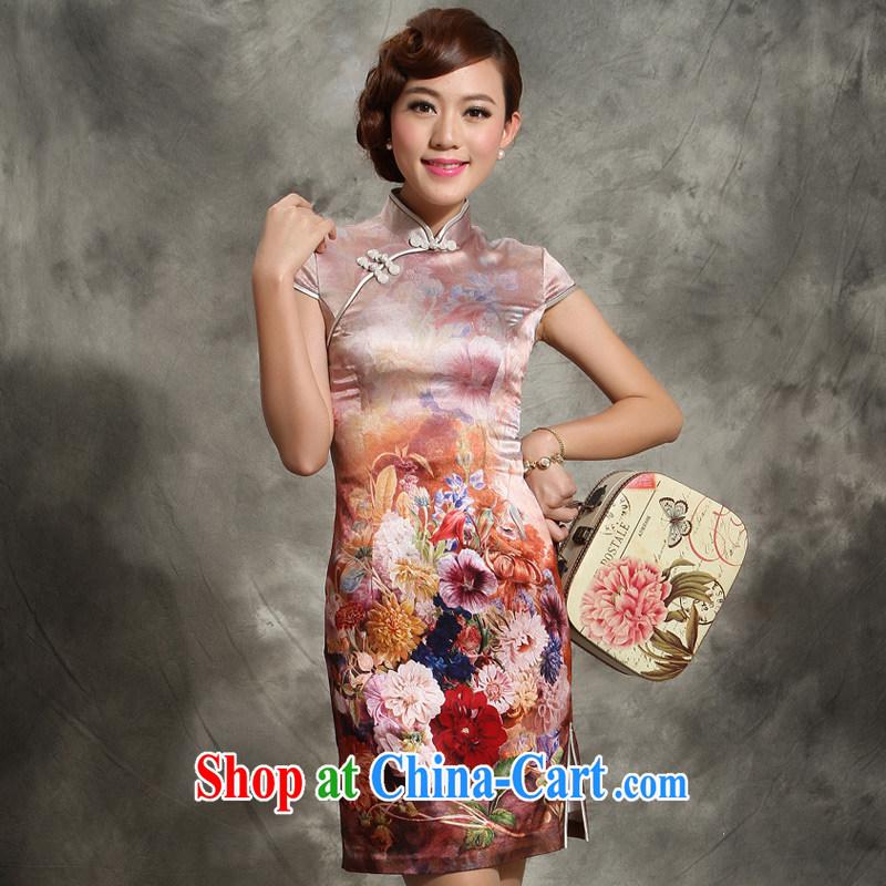 Heavy Silk Dresses new 2014 summer quality women, Ms. day sauna silk dress 5113 - 3 coffee XXL