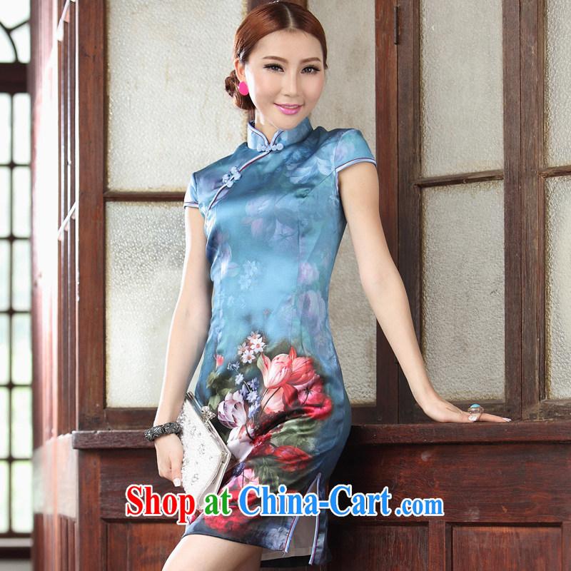 Heavy Silk Cheongsam dress summer fashion 2014 new blue roses Chinese qipao Ms. Lok Yan blue XXL