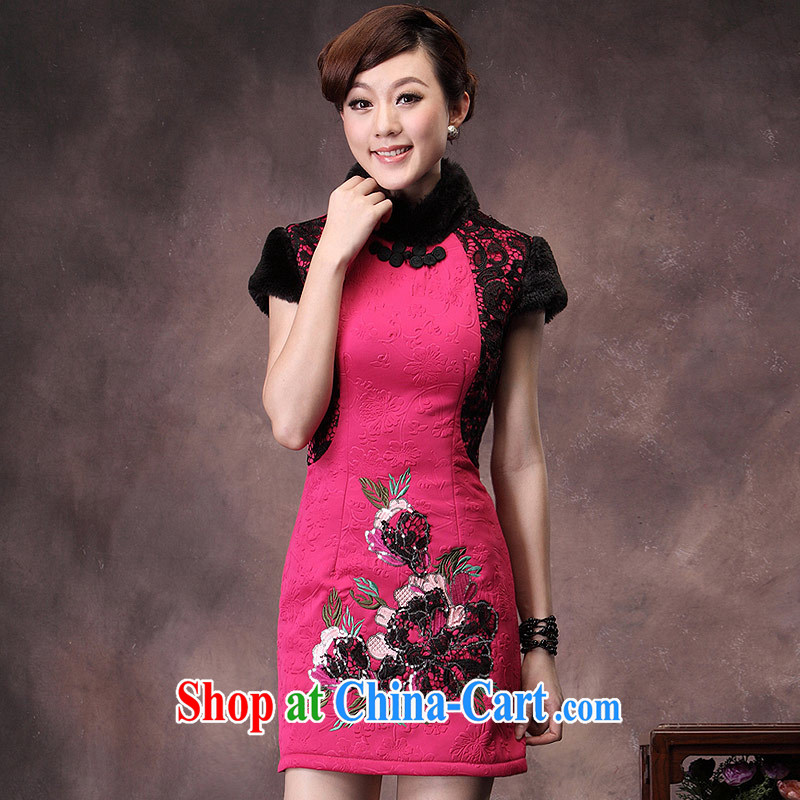 qipao cheongsam dress 2014 new winter retro folder cotton wool for the tie everyday ladies of qipao red XXXL
