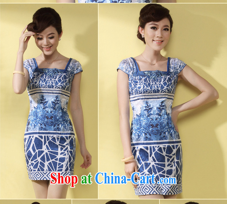 qipao cheongsam dresses new 2014 summer Chinese Ethnic Wind blue short daily female qipao blue XXXL pictures, price, brand platters! Elections are good character, the national distribution, so why buy now enjoy more preferential! Health