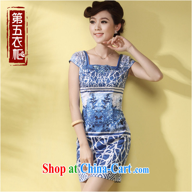 qipao cheongsam dresses new 2014 summer Chinese Ethnic Wind blue short daily female qipao blue XXXL