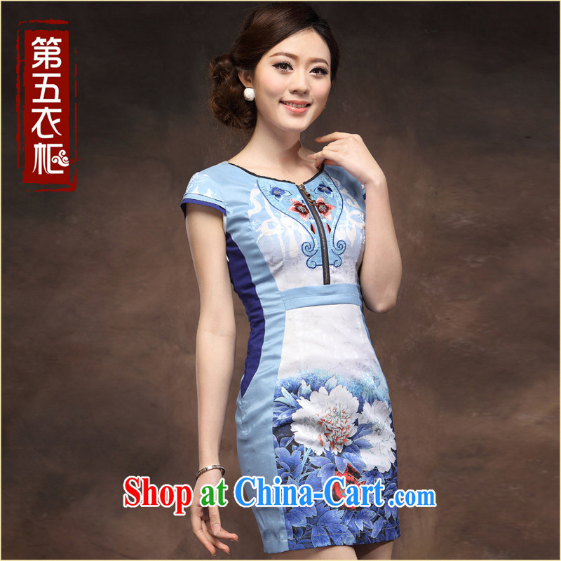 qipao cheongsam dress 2014 summer new stylish improved porcelain was the waist of Yuan dress skirt blue flower XXXL