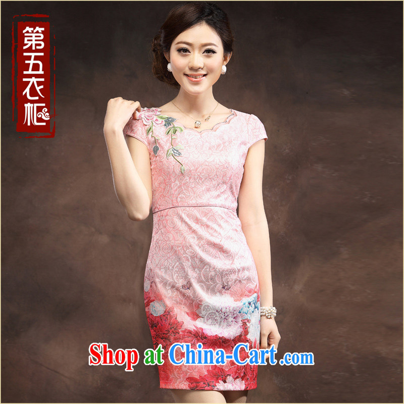 qipao cheongsam dress summer stylish gradient blue and white porcelain blue beauty charm ladies dress skirt pink XXXL