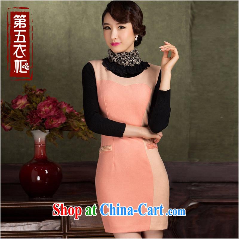 Gross cheongsam qipao Do dress 2014 new winter beauty charm lady sleeveless vest dress pink _no solid_ XL