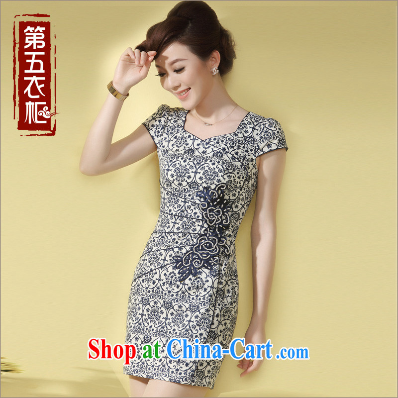 cheongsam stylish improved cheongsam dress summer 2014 New Beauty aura blue and white porcelain antique dresses blue XXXL