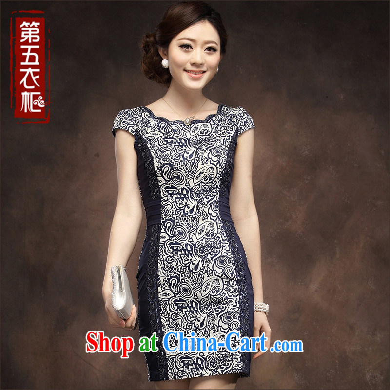 cheongsam stylish blue and white porcelain cheongsam dress 2014 new summer girl short, improved cultivation qipao blue flower XXXL