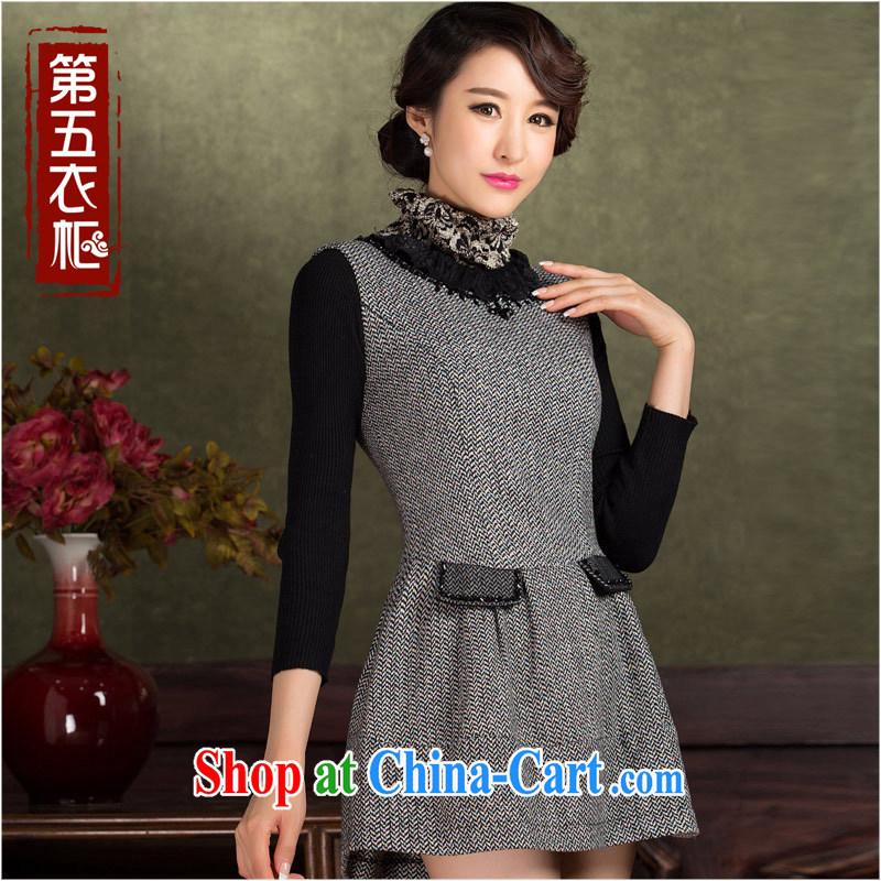 outfit is gross vest skirt autumn and winter 2014 new short temperament beauty warm modern cheongsam dress Black Gray XL