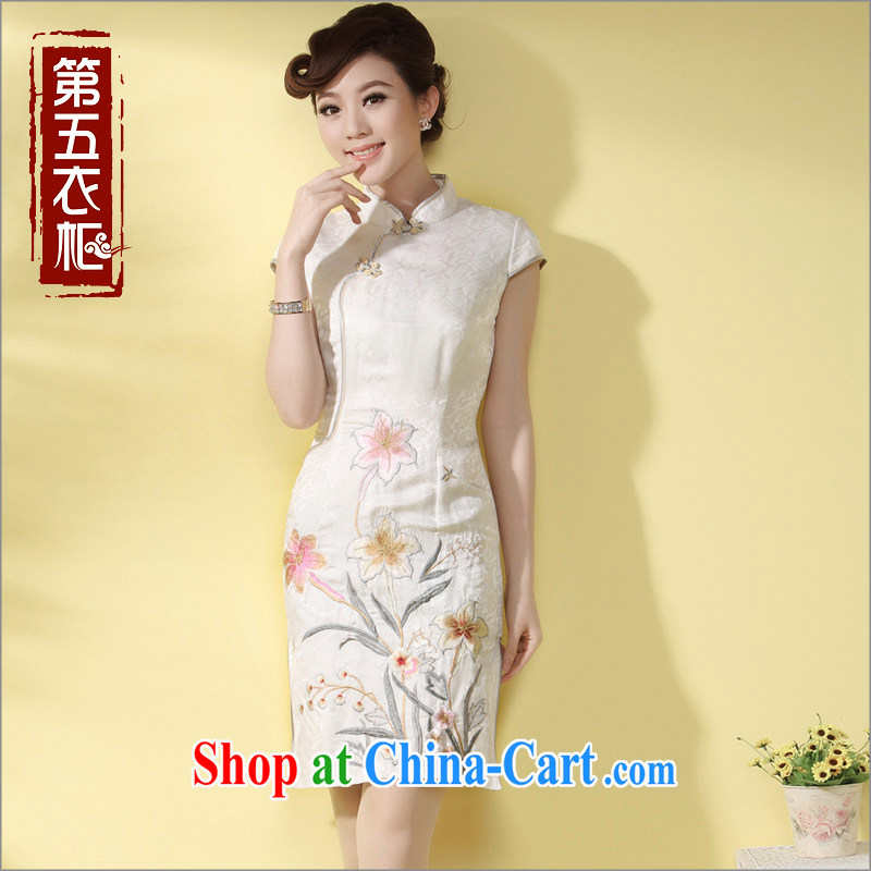 cheongsam silk embroidered retro Ethnic Wind qipao 2014 summer new upscale MOM daily outfit white XXL