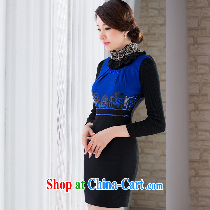 outfit is gross vest skirt autumn and winter 2014 women new Chinese Embroidery cultivating daily lady dresses skirt blue XXL