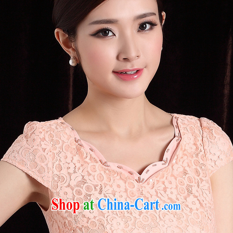 cheongsam lady beauty style white collar OLqipao 2014 new stylish improved female cheongsam dress pink XXL
