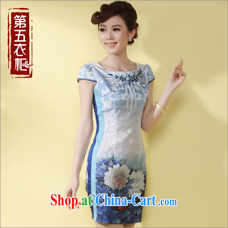 Short dresses, Retro beauty qipao 2014 new stylish improved Tang replace stamp duty cheongsam dress blue XXXL