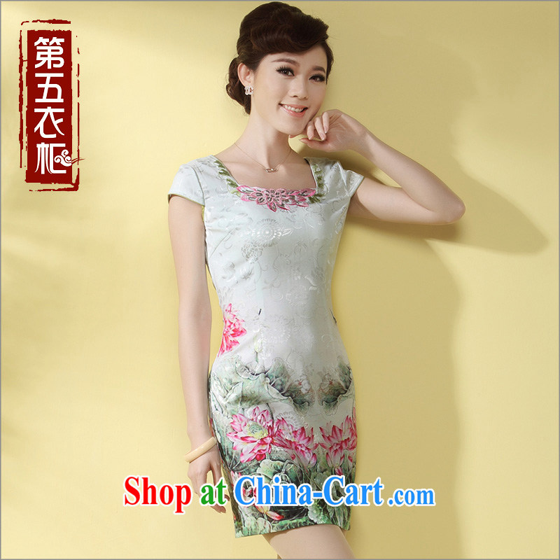 Short cheongsam, Chinese Embroidery female qipao 2014 summer new stylish improved daily cheongsam dress green XXXL