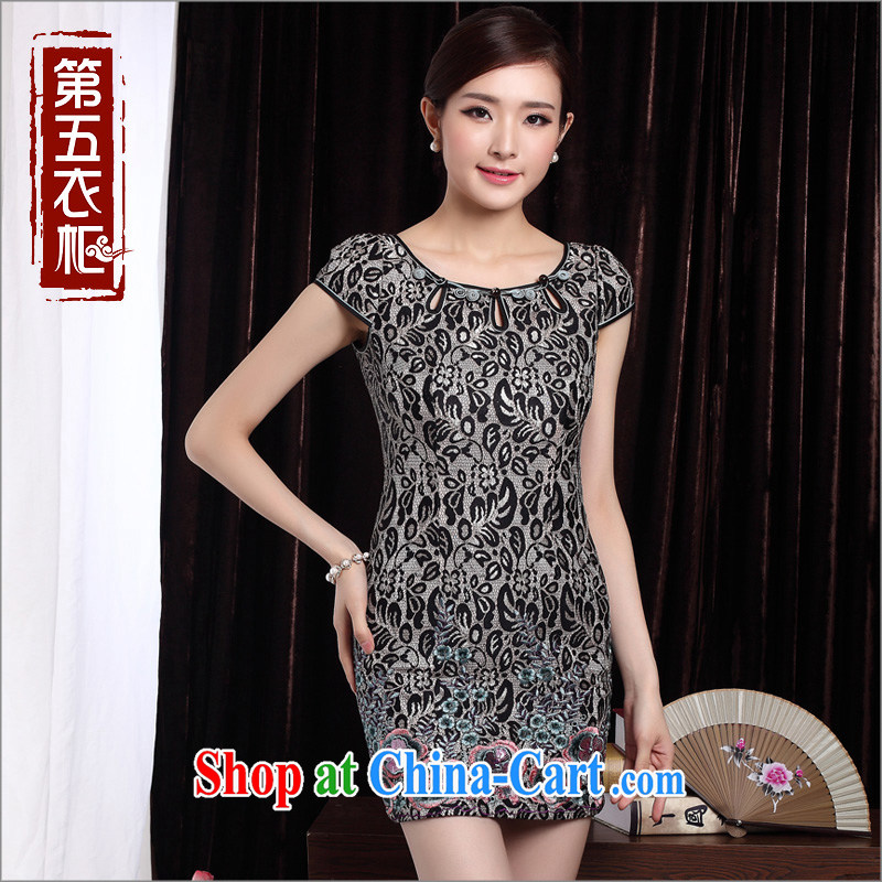Short cheongsam beauty, elegant qipao 2014 summer new stylish improved cheongsam dress black XXL