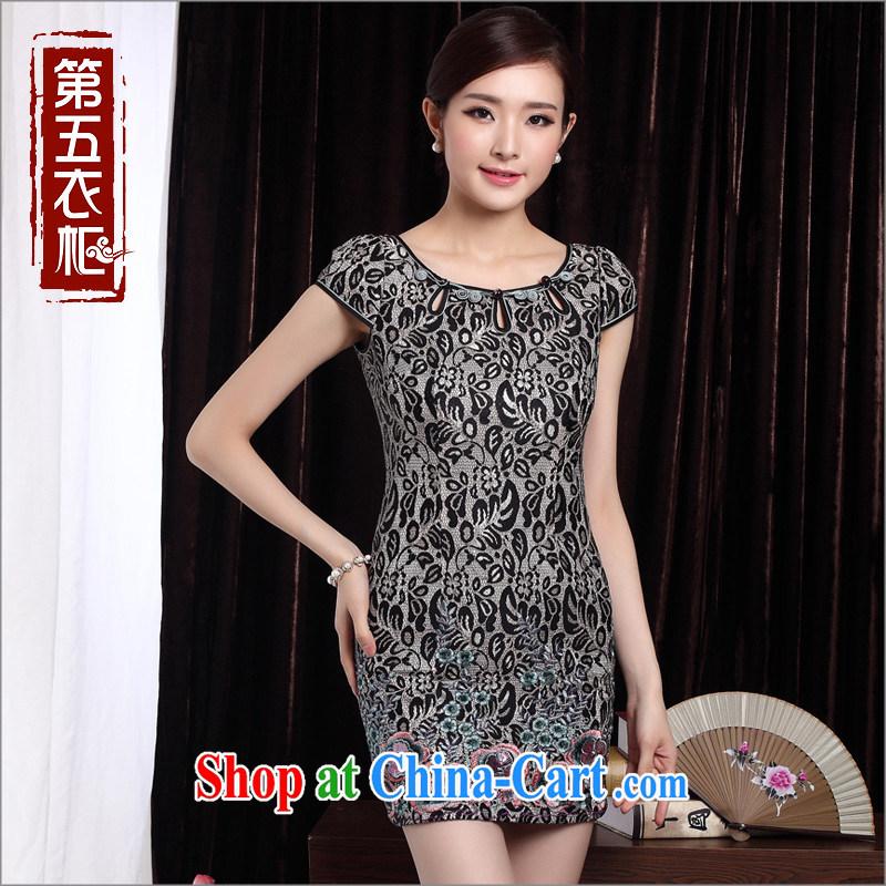 Short cheongsam beauty, elegant qipao 2014 summer new and stylish improved cheongsam dress black XXL, the cheongsam/Tang, and shopping on the Internet
