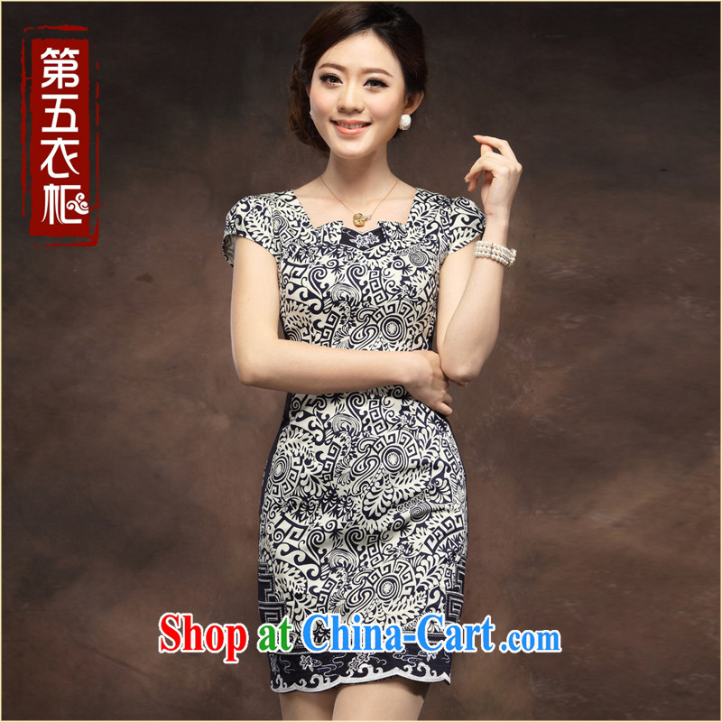 Dresses Classic Blue and white porcelain cheongsam short summer 2014 new Chinese style improved cultivation qipao blue flower L