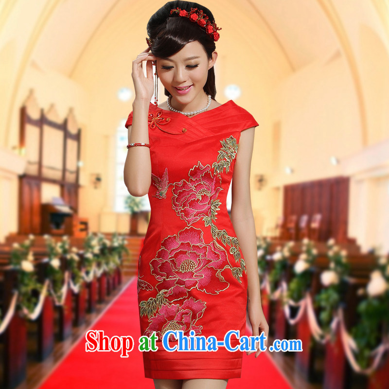 wedding dresses red toast V served for a field shoulder Peony embroidery Chinese improved dress skirt the color red XXL