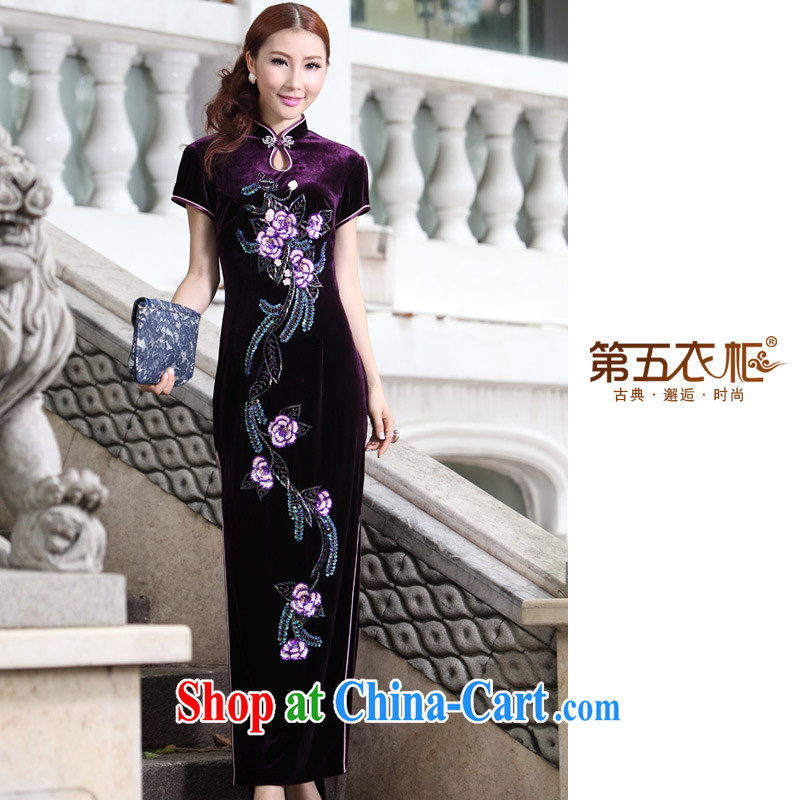 Long dresses, embroidery retro Mom, dinner dress with round collar cuff package middle-aged large Code regards robe can be made purple 4 XL