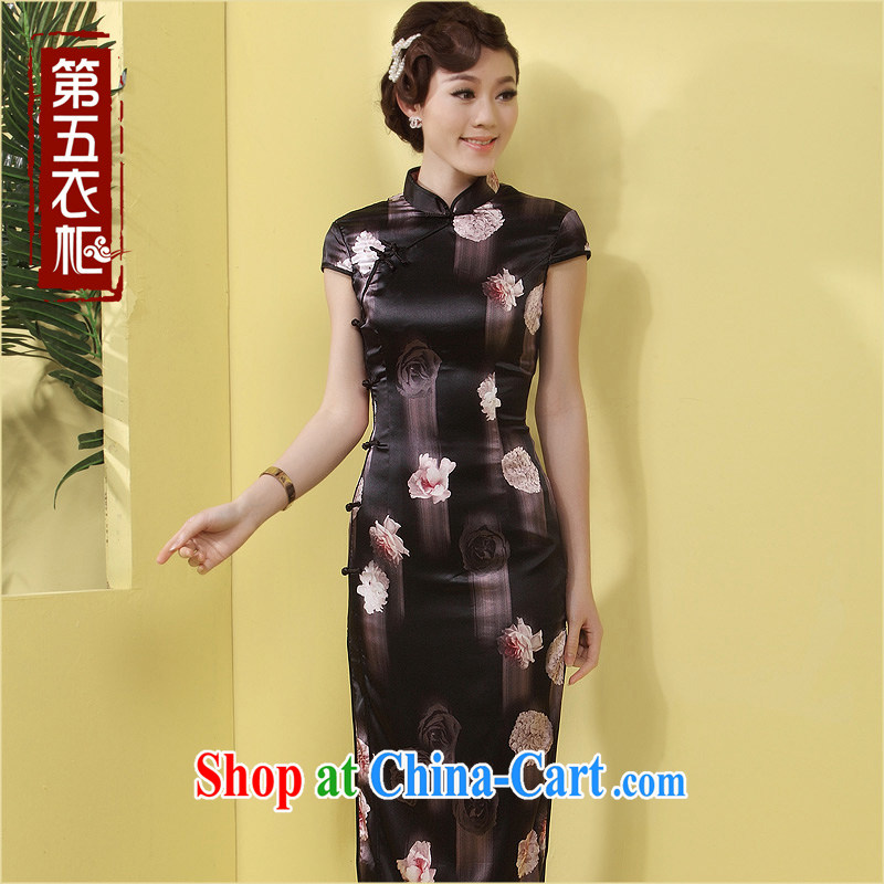 Dresses long sauna silk Silk Cheongsam upscale black beauty charm and stylish MOM everyday dress black floral XXL