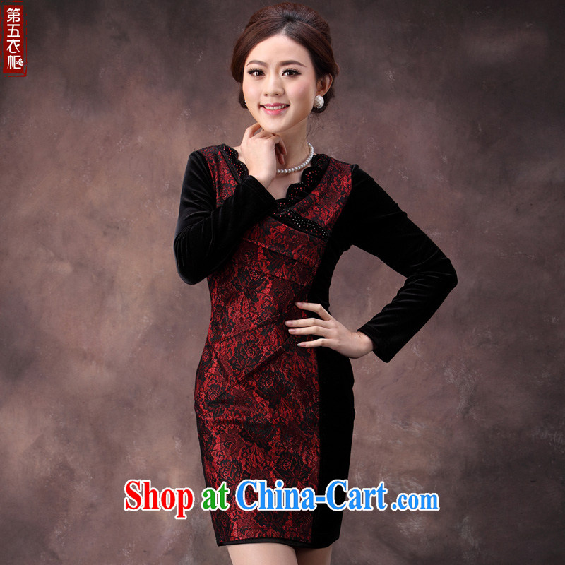 Dresses fall and winter beauty long-sleeved wedding dresses mothers dresses wool stitching cultivating graphics thin dresses Uhlans on spend 4 XL