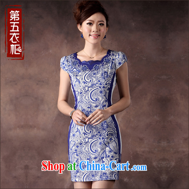cheongsam blue and white porcelain antique Chinese cheongsam dress classic and elegant beauty, Ms. short daily qipao blue XXXL