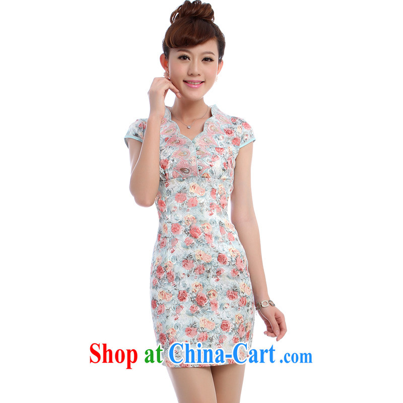 Dresses 2014 new dresses summer floral V for improved fashion sense of everyday dress skirt 5154 green XXL