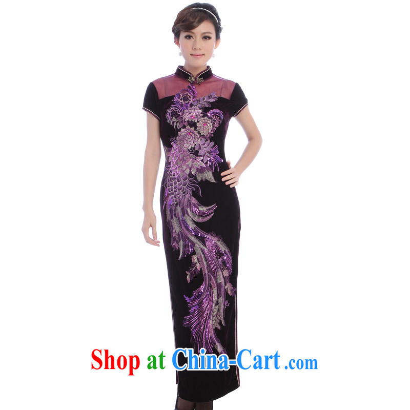 Velvet cheongsam cheongsam stylish improved 2014 New Long wedding MOM load the mother dress 89 purple 4 XL
