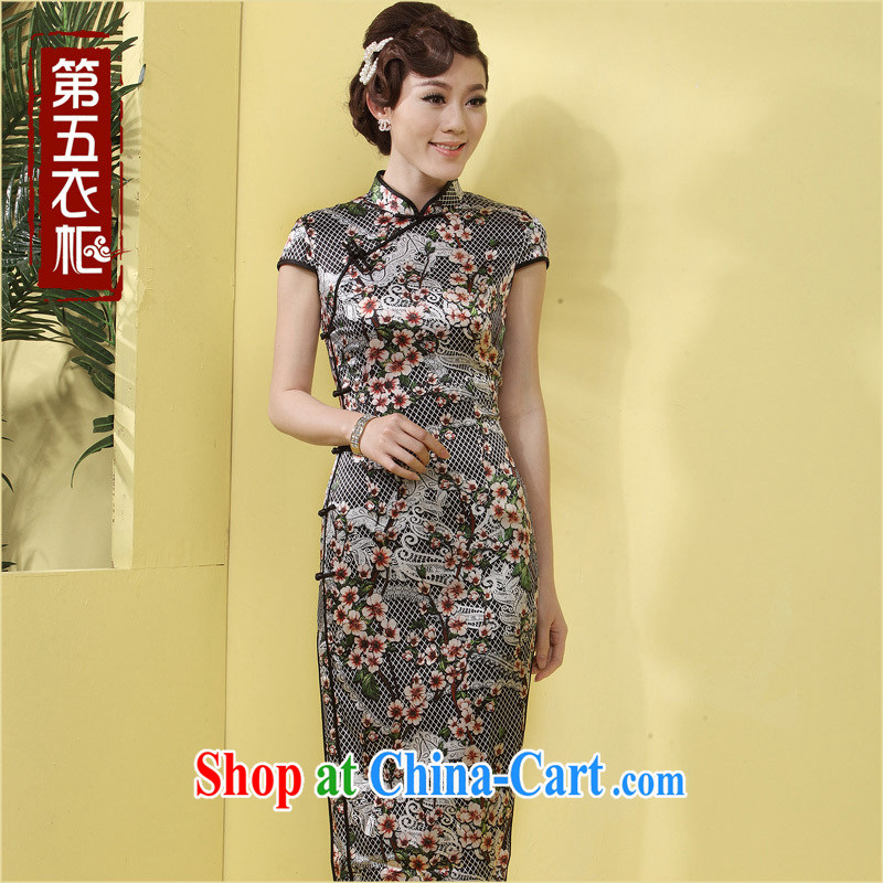 Dresses long dresses, silk in good old mother black beauty-tie Chinese daily dress black flower pre-sale