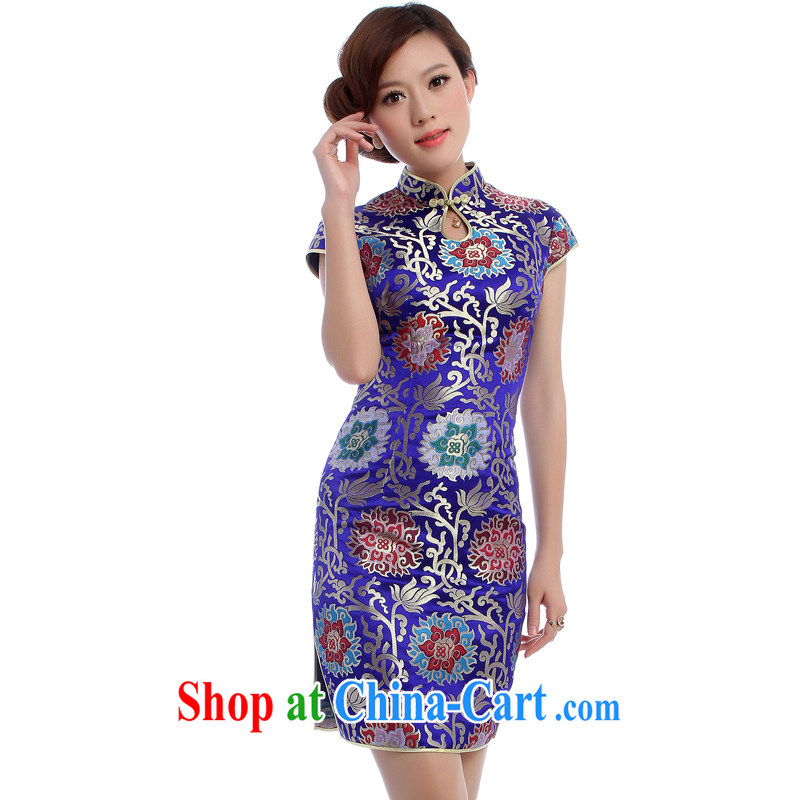 cheongsam Brocade cheongsam wedding MOM replace summer wedding upscale dark blue and white porcelain blue dress 5560 blue XXL
