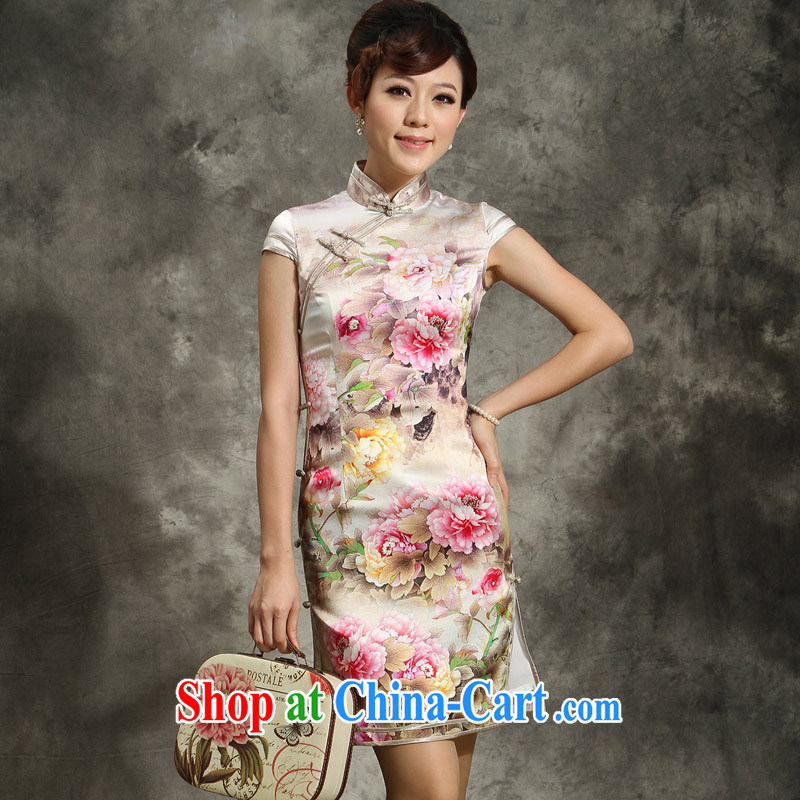 qipao heavy Silk Cheongsam improved stylish summer 2014 standard on the truck specialty dresses skirt Dan suit stunning XXL