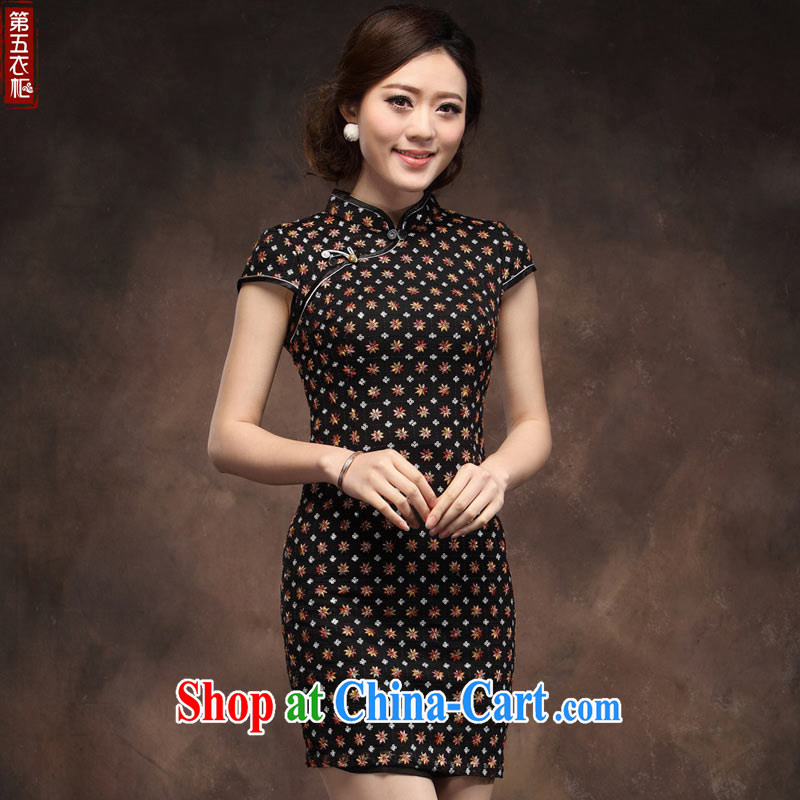 Chinese cheongsam dress improved black beauty bride's mother's wedding short 2014 summer new dress black XXXL