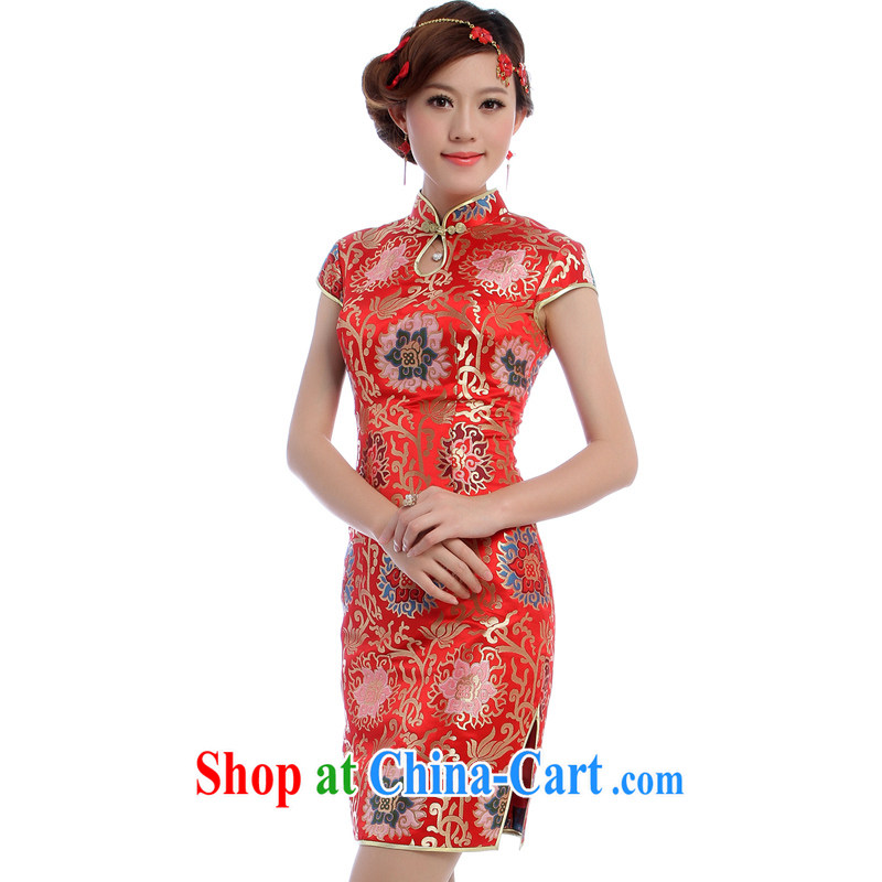 cheongsam Brocade cheongsam wedding toast Service Bridal replacing standard Chinese wedding dress made 5560 - 1 red XXL