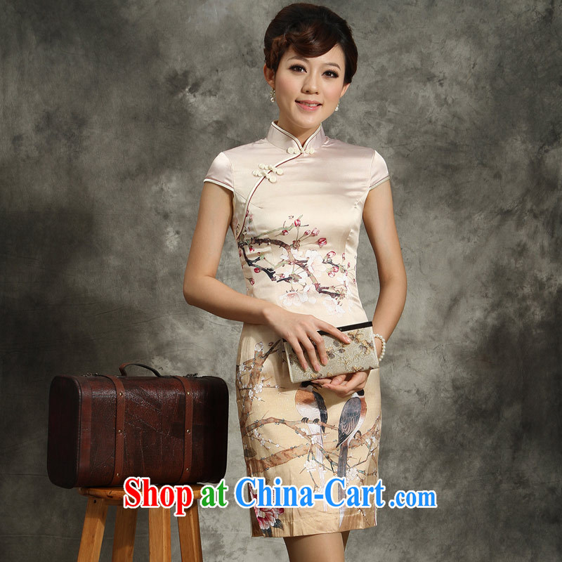 The cheongsam qipao flower silk summer fashion 2014 improved sauna Silk Cheongsam dress, yellow L