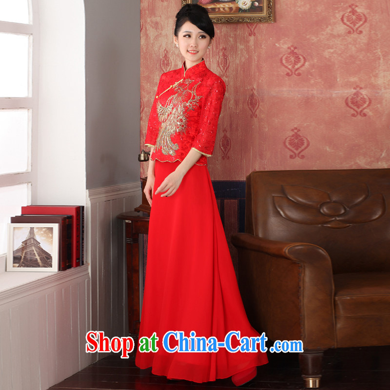 2014 autumn and winter clothes new lace bridal red cheongsam embroidered retro crowsfoot wedding Chinese Dress package mail 564,721 red XL