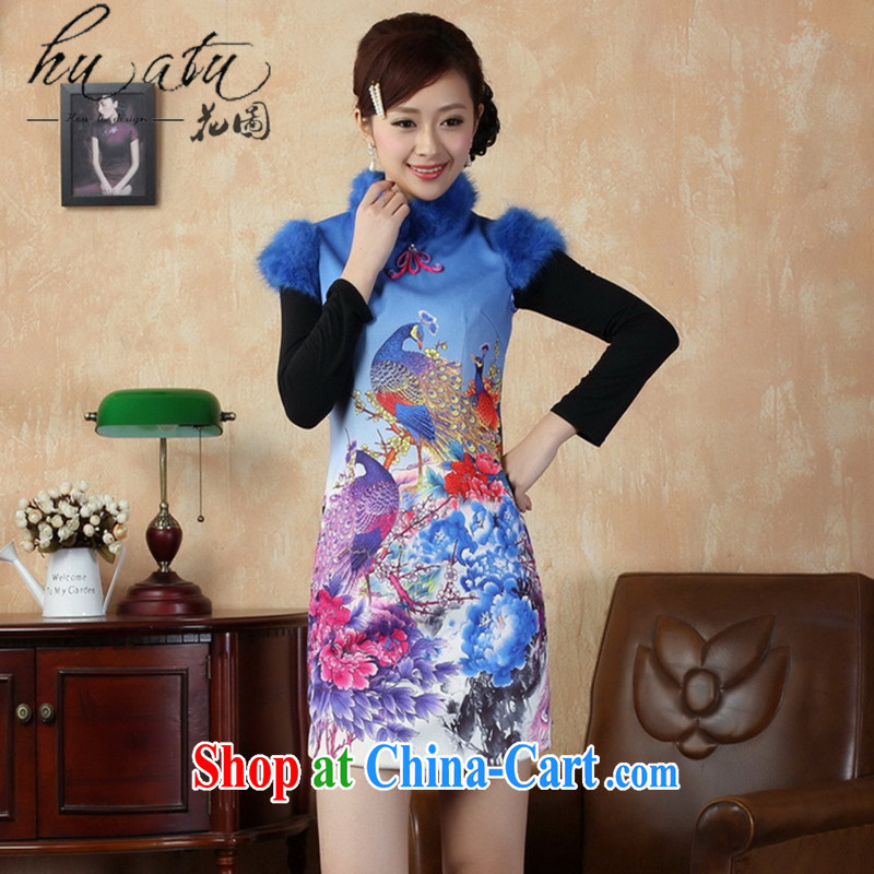 spend the winter, female Chinese qipao winter improved Chinese, short cheongsam gross cotton? cheongsam national costumes Blue on white 2 XL