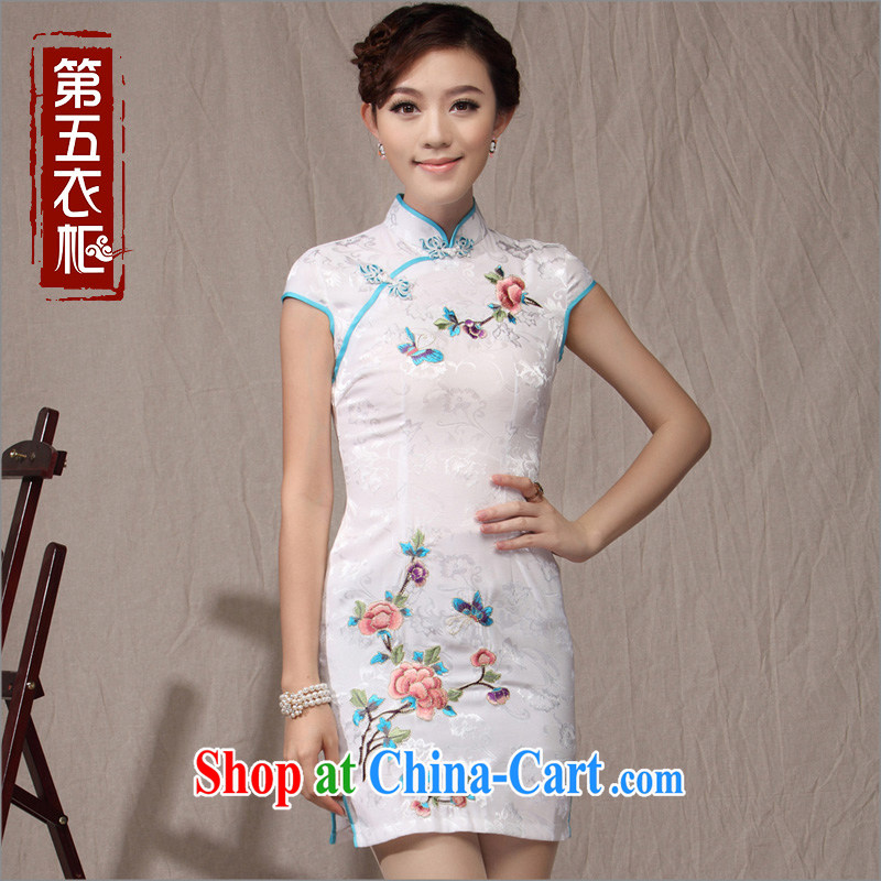 Cultivating cheongsam lady National wind-buckle Tang mounted 2014 new summer day embroidery girl cheongsam dress white XXL