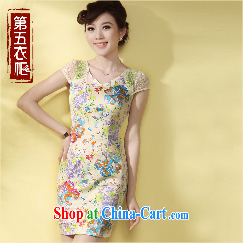Girls dresses cheongsam dress improved summer 2014 new stylish short daily Tang with regards robe apricot XXL