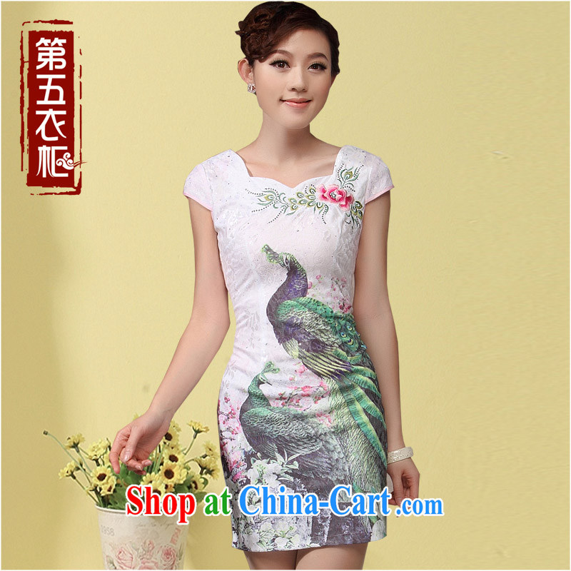 qipao cheongsam new 2014 summer Chinese dresses Chinese Peacock ethnic wind short skirts dresses white XXXL