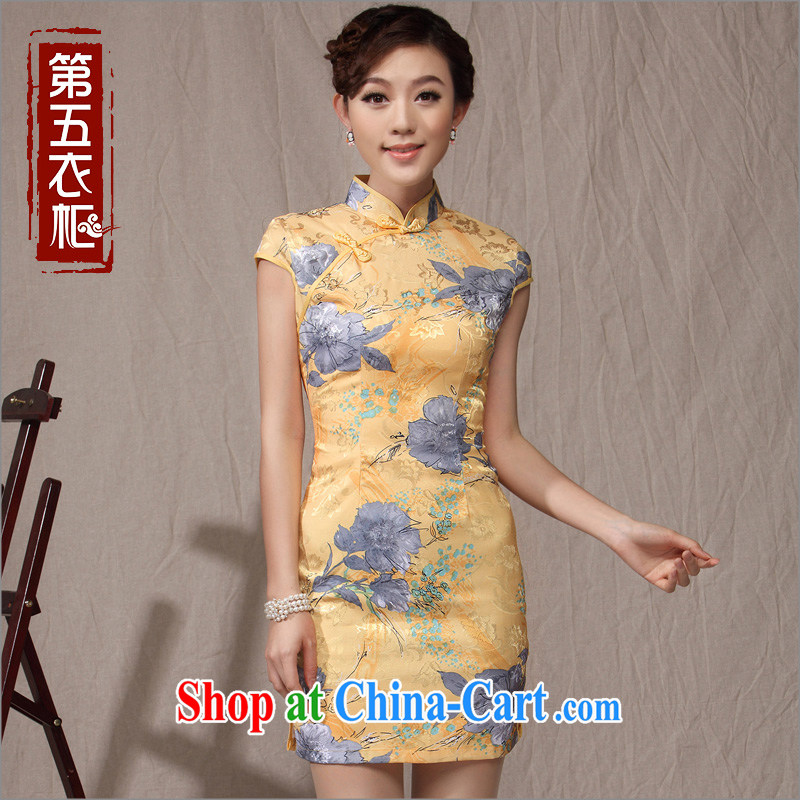 antique dresses Ethnic Wind-tie qipao 2014 new summer fashion improved Chinese qipao dress yellow XXL