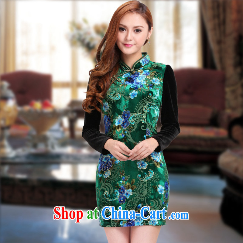 Dresses retro improved stylish velvet cuff in 2014 autumn and winter, new dresses stitching beauty dresses green XXXL