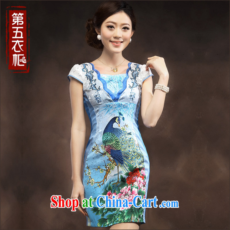 qipao cheongsam dress summer fashion 2014 New National wind Peacock embroidery aura, Ms. short skirt blue XXXL