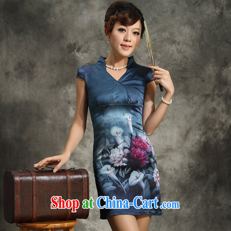 qipao cheongsam silk summer stylish improved 2014 new V territorial waters the sauna Silk Cheongsam dress blue catkins catkins blue XXL